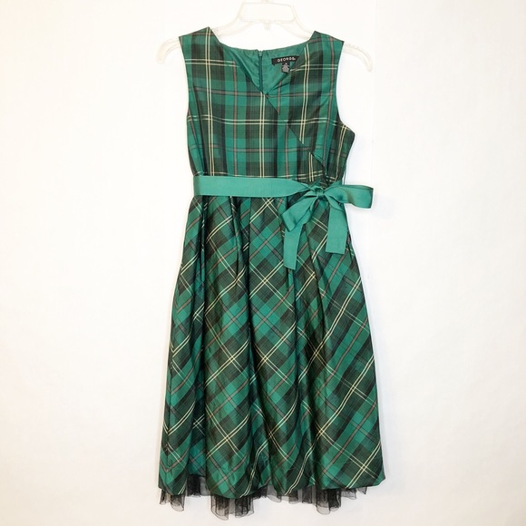 46a4ac1720ef George Dresses | Twins Green Plaid Christmas Dress Sz 16 | Poshmark
